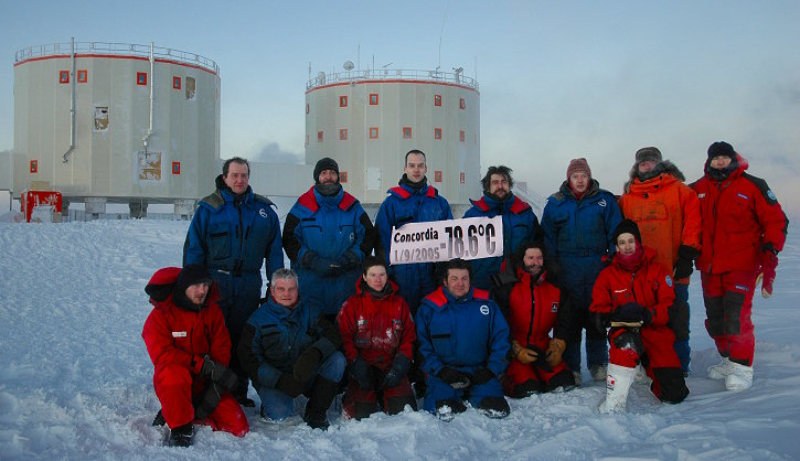 [20050902_RecordTemp.jpg] The Concordia 2005 winterover team united during the record low temperature of the winter: -78.6°C. Camera on a tripod which didn't stay outside for long (neither did we with removed face masks). (Photo Karim Agabi)