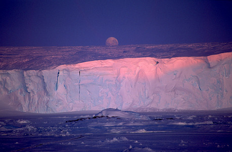[GlacierMoon.jpg] This moon rising above an Antarctic glacier was my first double page publication. And like most great shots it was taken out of pure luck: I just happened to be there when the moon came out. I had only a few seconds to get the equipment out of the pack and adjust all the shooting parameters.