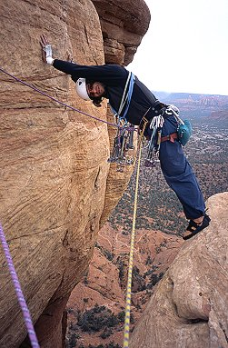 [TheStep.jpg] There's only one step but it's a big one. With the Arizona landscape 120 meters under the feet and plenty of slack on the rope, it turns into a mighty step indeed.