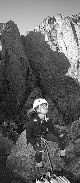 [Base_VPano.jpg] This image combines several elements I like: it's a 120° vertical panorama, one of my very first HDR images, and the belay of the 2nd pitch of my favorite climb ever: the Scenic Cruise in the impressive Black Canyon of Gunnison. I rarely shoot black & white while climbing, but here with the black rock it was almost customary. The apprehension of what's coming on the next 13 pitches of strenuous climbing is also clearly visible in her faced enhanced by the right amount of flash from my GR21 (is that enough links to keep you busy for the next hour or what ?)