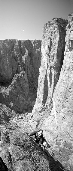 [MaidenVoyage_VPano.jpg] Vertical panorama (2 vertical pictures) of Jenny on Maiden Voyage, an introductory climb in the Black Canyon of Gunnison, Colorado.