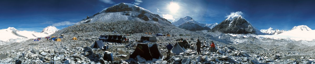 A 360 degree panorama taken from the Cho-Oyu base camp, Himalaya, 2000
