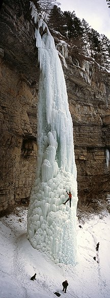 [FangVPano.jpg] Ice climbing can be viscerally beautiful, or so does the dog think as it follows its master up the Fang, in Vail. It's late in the season and who knows when it's gonna come crashing down...