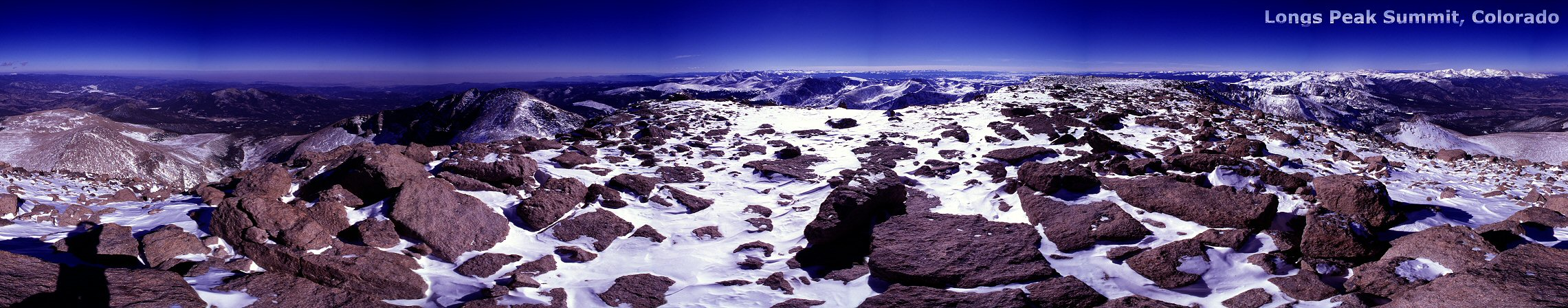 360 degree panorama from the summit of Longs Peak, 2001