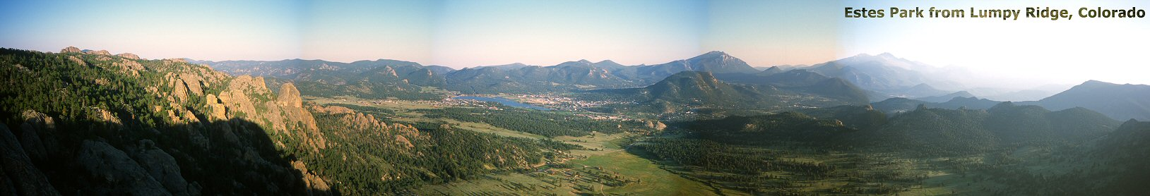 Panorama of Estes Park from Lumpy Ridge, 2003