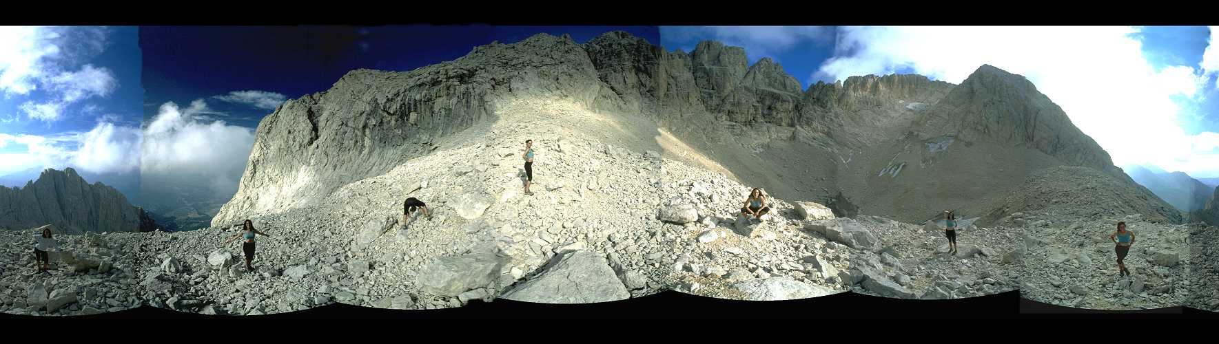 Panorama from the Calderone glacier, Gran Sasso, central Italy, 1998