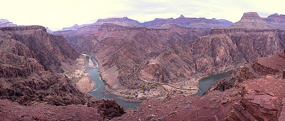 Panorama of the Colorado river near the bottom of Grand Canyon