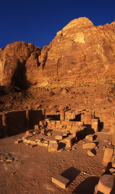 [20111104_070332_NabateanTempleVPano_.jpg] Ruins of the Nabatean temple of Wadi Rum.
