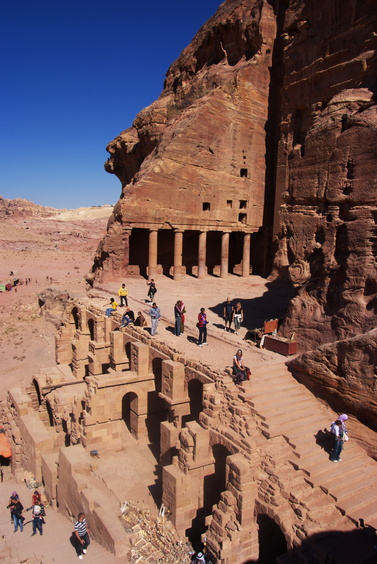 [20111108_114813_Petra.jpg] Set of carved buildings and masonry entrances.