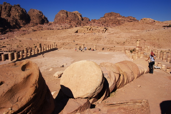 [20111108_125613_Petra.jpg] One of the massive fallen columns of the Temenos.