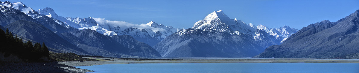 [MtCookPano.jpg] Panoramic view of Mt Cook and lake Pukaki. Trying to push the limits of the resolution of the camera. Some of the best routes I've done are visible: the east ridge of Cook (right of the summit), the west ridge (left of it) and Mt Sefton.