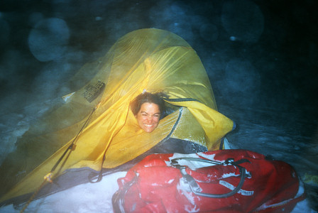 [NightStorm.jpg] Jenny holding to the tent in a fierce 3 day long winter storm in northern Sweden.