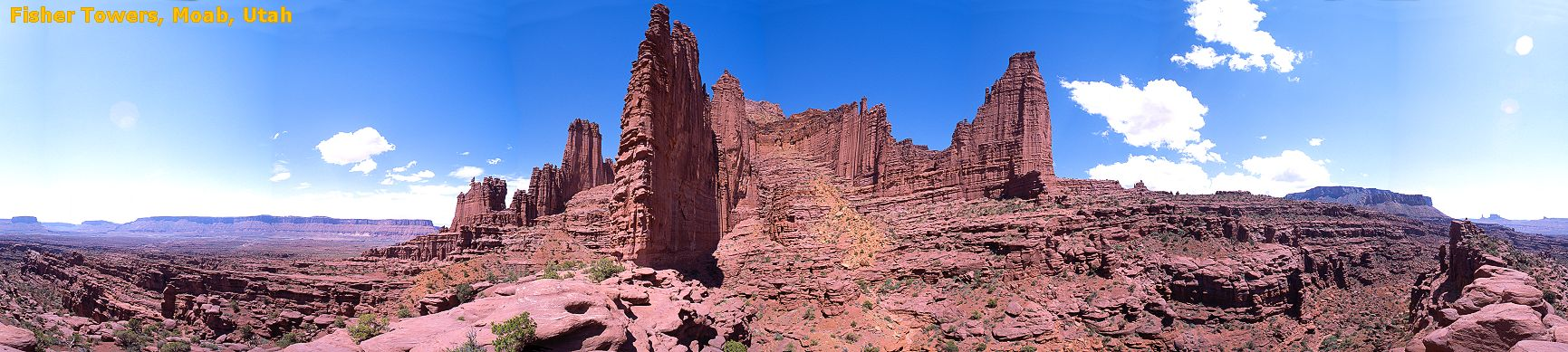 Panorama of the Fisher Towers, Moab, Utah, 2001