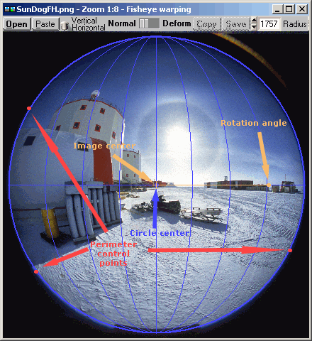 Fisheye image, before and after horizontal correction (mouseover effect)