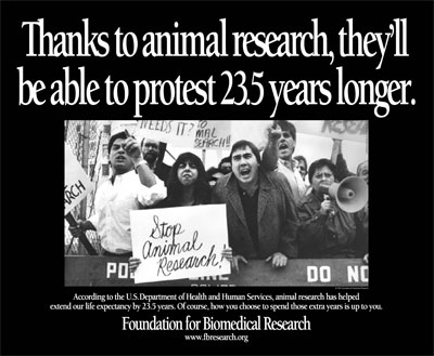 Right: Animal testing protest