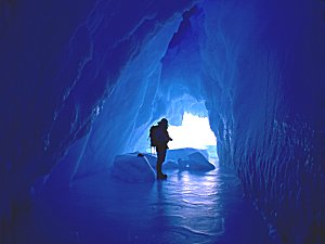 Cave inside an iceberg at sea level