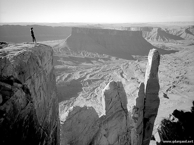[BW_Priest.jpg] Climbers on the Priest as seen from the Rectory. Moab, Utah.