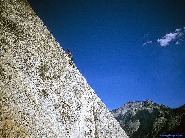 [CrestJewelSlabH.jpg] Vincent leading the runout slab of Crest Jewel Direct, Tuolumne.
