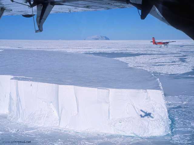 [FlyingAboveIceberg.jpg] Twin Otter flying above a 'small' tabular iceberg.