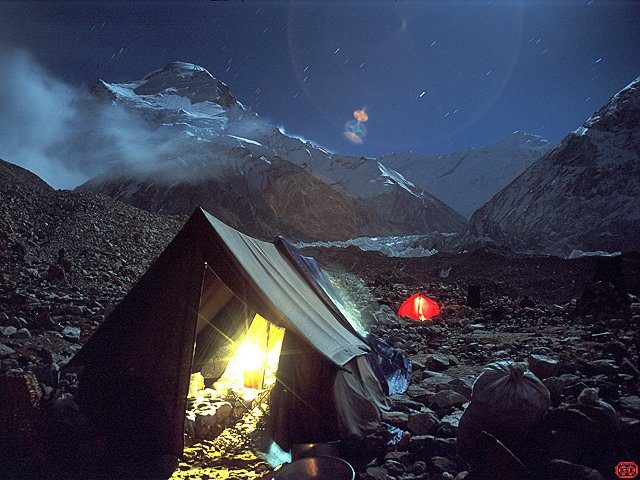 [NightCampChoOyu.jpg] Moonlight on Cho-Oyu and the kitchen tent, Himalaya.