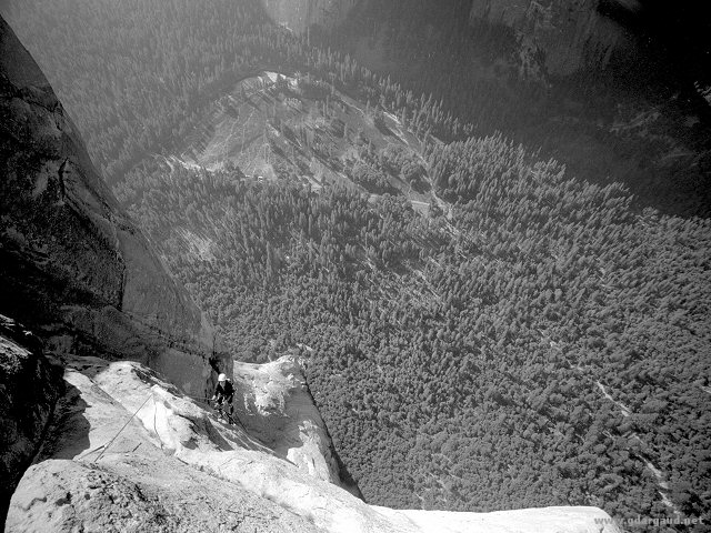 [Salathe_BW10_FarDown2.jpg] Jenny jugging up the pitch above Long Ledge, Salathé Wall, Yosemite.