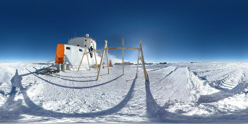 [PanoParking_.jpg] This image, from my Concordia panorama page, is a full 360x180° panorama assembled from 9 fisheye images. It's a spherical projection with a complete field of view, meaning you can see the top and bottom as well. Let's see what we can do with it...