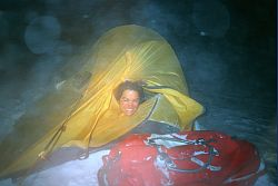[NightStorm.jpg] Stormy night: the wind trying to blow our tent away !