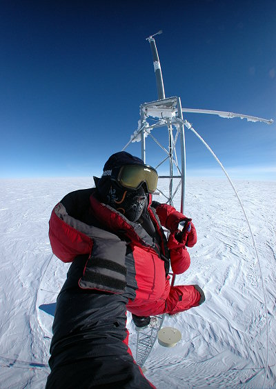 [CR23_Portrait2hW.jpg] The title for this self-portrait taken off a weather mast on the high Antarctic plateau could very well be 'the edge of space': curvature of the Earth due to the fisheye lens, spacesuit to withstand the extreme cold and, above all, extreme remoteness. Surprisingly, it's also the very first image I ever took with a digital SLR ! I wasn't mine and I almost dropped it.