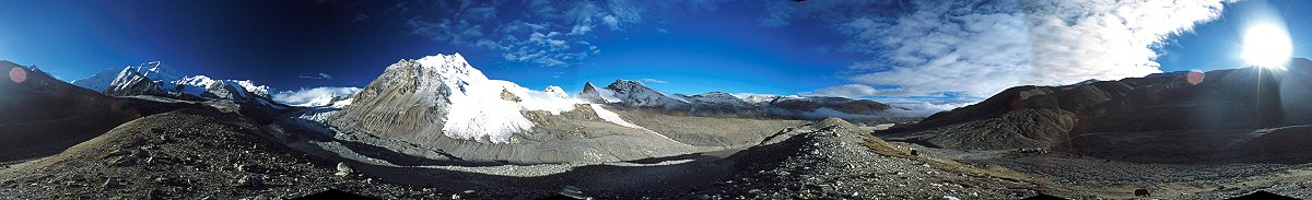 A 360 degree panorama taken from the intermediate camp before the Cho-Oyu base camp, Himalaya, 2000
