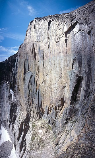[Diamond_Pano.jpg] Vertical panorama (4 horizontal pictures) of the Diamond, Longs Peak, Colorado.