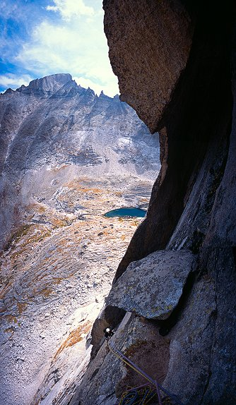 [SpearHead_VPano.jpg] Vertical panorama (3 horizontal pictures) of Jenny below the great roof of Syke Sicle on Spearhead, Colorado.