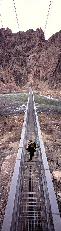 [ColoradoBridge_VPano.jpg] Bridge on the Bright Angel Trail, Grand Canyon of Colorado, Arizona. Assembled from 2 vertical pictures.