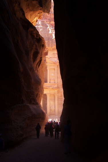 [20111108_105940_PetraTreasury.jpg] The treasury seen from the entrance of the Siq. Definitely the most famous image of Petra, but turned difficult to take by the amount of tourists at the base and the great amount of dust kicked up by the horses. If you want to take a better image than mine, show up early during the wet season (whenever that is) !
