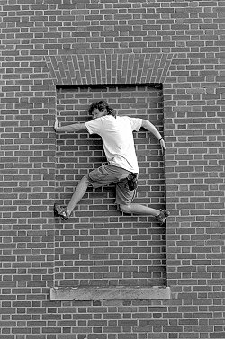 [Buildering_Window.jpg] Climbing can be had in the poorest settings, if only you use your imagination and manage to escape campus police for long enough...