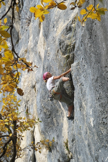 [20121021_134927_ColArc.jpg] Climbing at the Arc pass (Vercors) in autumn.