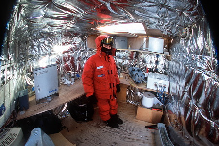 [GlacioShelter1FHW.jpg] After collecting samples outside, a brief stop into the glaciology shelter to warm up but also to check on the equipment, see if the pumps are still running and possibly change the filters (180° fisheye image).